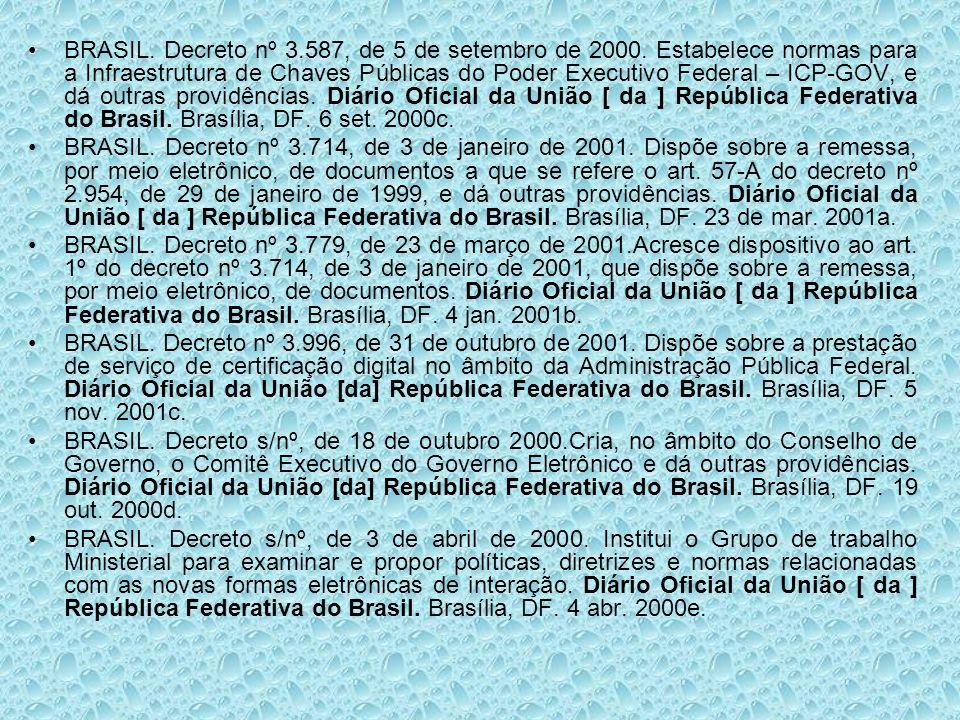 BRASIL. Decreto nº 3.587, de 5 de setembro de 2000. Estabelece normas para a Infraestrutura de Chaves Públicas do Poder Executivo Federal – ICP-GOV, e
