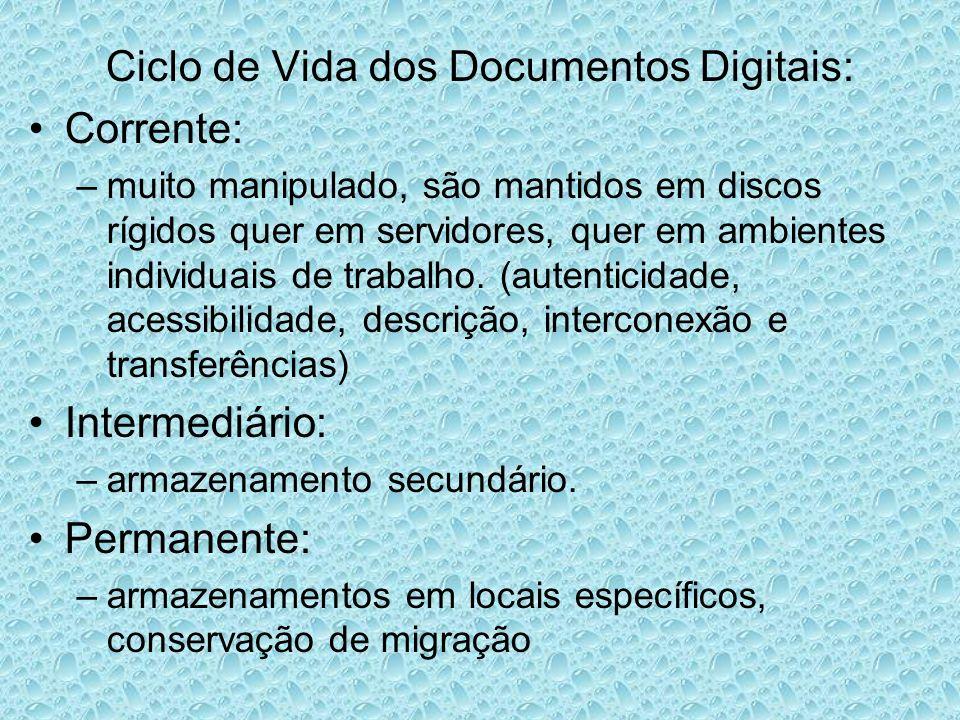 Ciclo de Vida dos Documentos Digitais: Corrente: –muito manipulado, são mantidos em discos rígidos quer em servidores, quer em ambientes individuais de trabalho.