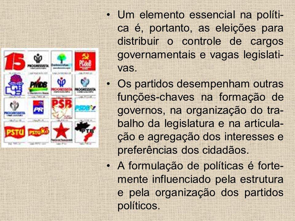Um elemento essencial na políti- ca é, portanto, as eleições para distribuir o controle de cargos governamentais e vagas legislati- vas. Os partidos d