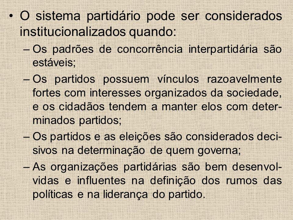 O sistema partidário pode ser considerados institucionalizados quando: –Os padrões de concorrência interpartidária são estáveis; –Os partidos possuem