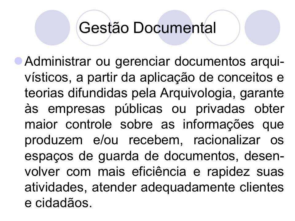 Gestão Documental Administrar ou gerenciar documentos arqui- vísticos, a partir da aplicação de conceitos e teorias difundidas pela Arquivologia, gara