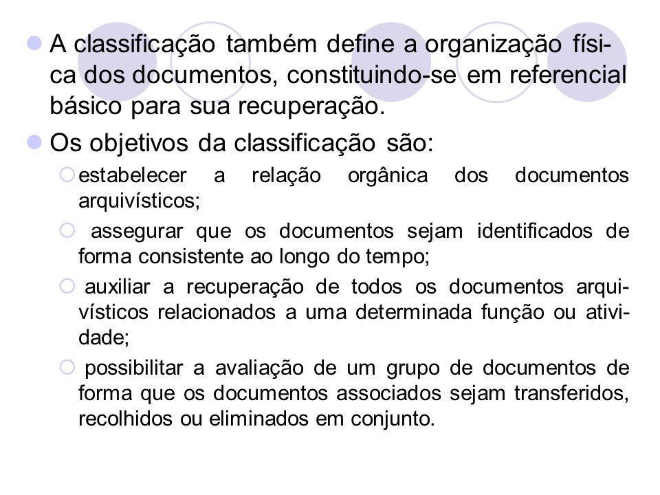 A classificação também define a organização físi- ca dos documentos, constituindo-se em referencial básico para sua recuperação. Os objetivos da class