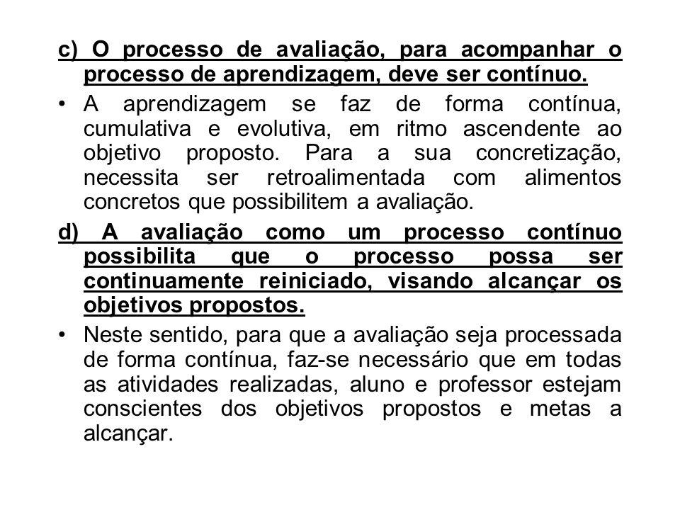 e) Processo de avaliação x desempenho do aluno.