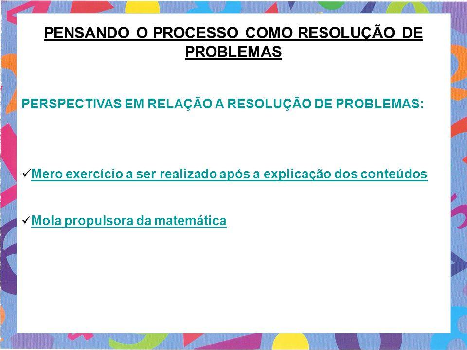 PENSANDO O PROCESSO COMO RESOLUÇÃO DE PROBLEMAS PERSPECTIVAS EM RELAÇÃO A RESOLUÇÃO DE PROBLEMAS: Mero exercício a ser realizado após a explicação dos