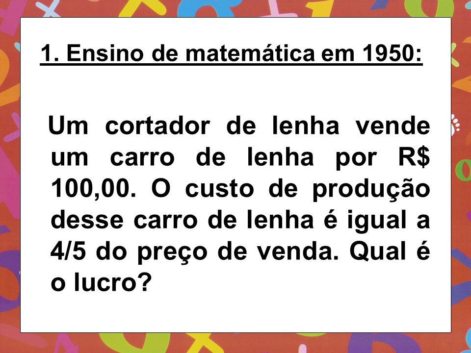 1. Ensino de matemática em 1950: Um cortador de lenha vende um carro de lenha por R$ 100,00. O custo de produção desse carro de lenha é igual a 4/5 do