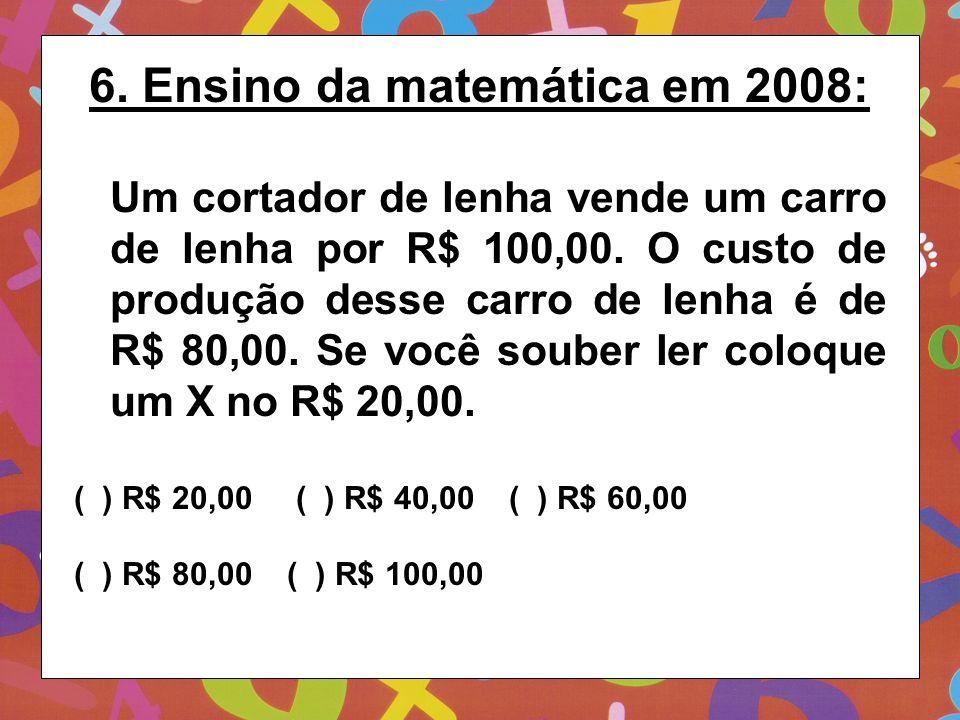 6. Ensino da matemática em 2008: Um cortador de lenha vende um carro de lenha por R$ 100,00. O custo de produção desse carro de lenha é de R$ 80,00. S