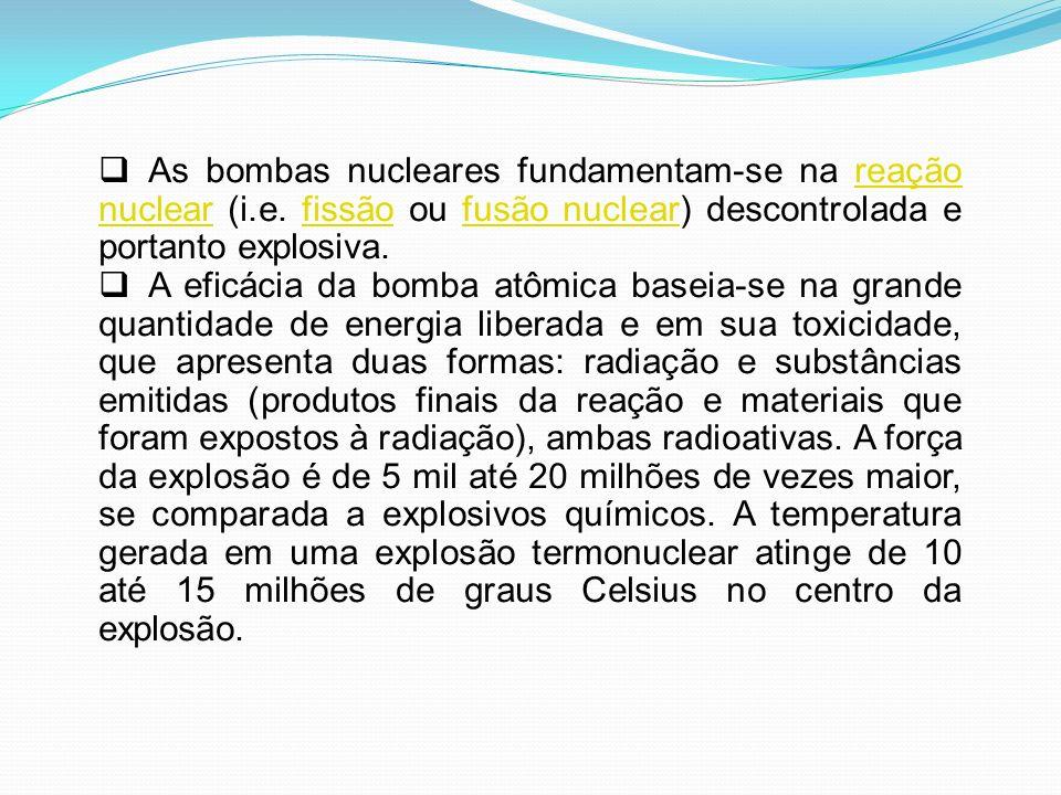 As bombas nucleares fundamentam-se na reação nuclear (i.e. fissão ou fusão nuclear) descontrolada e portanto explosiva.reação nuclearfissãofusão nucle