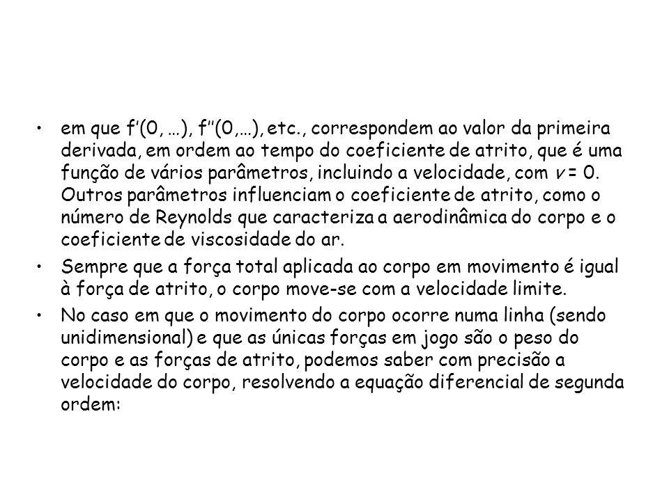 em que f(0, …), f(0,…), etc., correspondem ao valor da primeira derivada, em ordem ao tempo do coeficiente de atrito, que é uma função de vários parâm