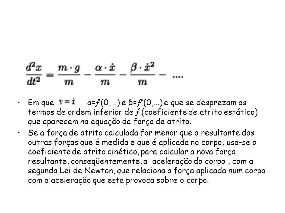 Em que α=ƒ(0,...) e β=ƒ(0,...) e que se desprezam os termos de ordem inferior de ƒ (coeficiente de atrito estático) que aparecem na equação da força d