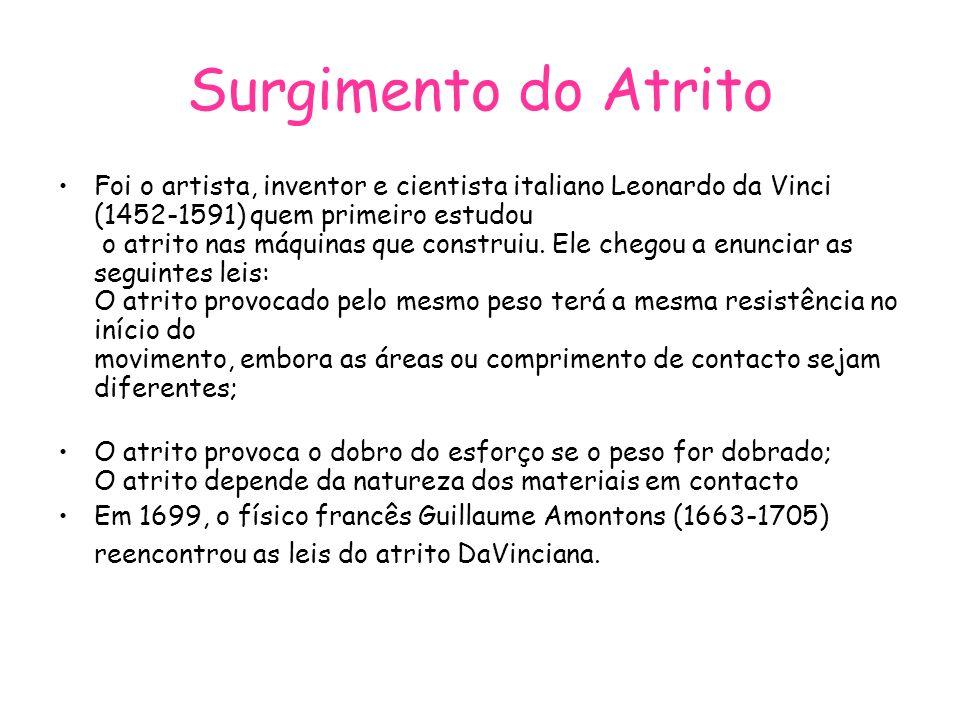 Surgimento do Atrito Foi o artista, inventor e cientista italiano Leonardo da Vinci (1452-1591) quem primeiro estudou o atrito nas máquinas que constr