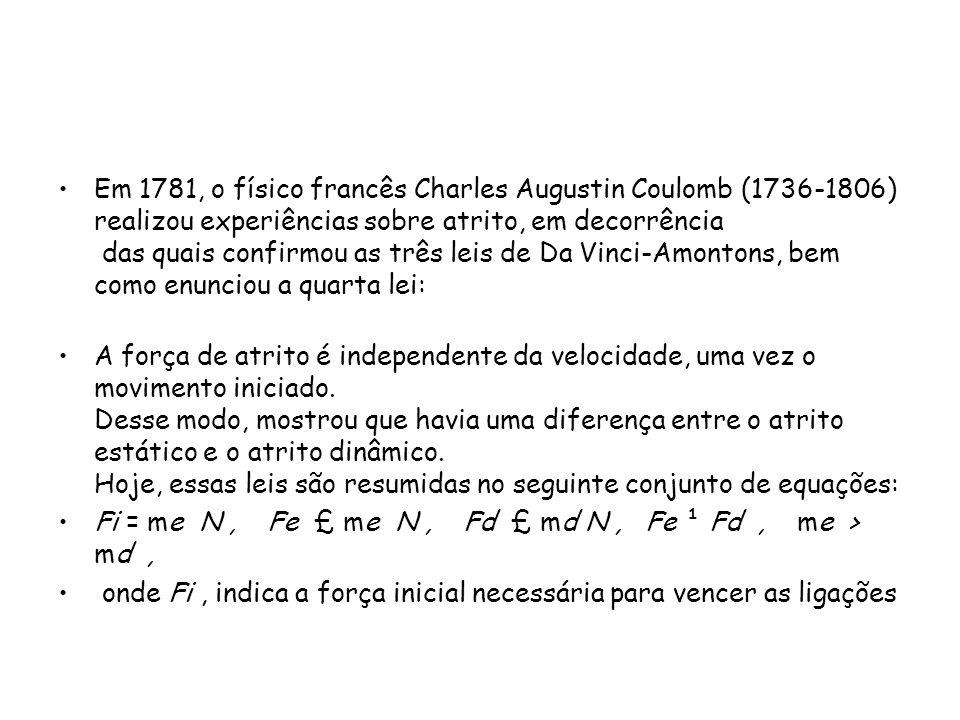 Em 1781, o físico francês Charles Augustin Coulomb (1736-1806) realizou experiências sobre atrito, em decorrência das quais confirmou as três leis de