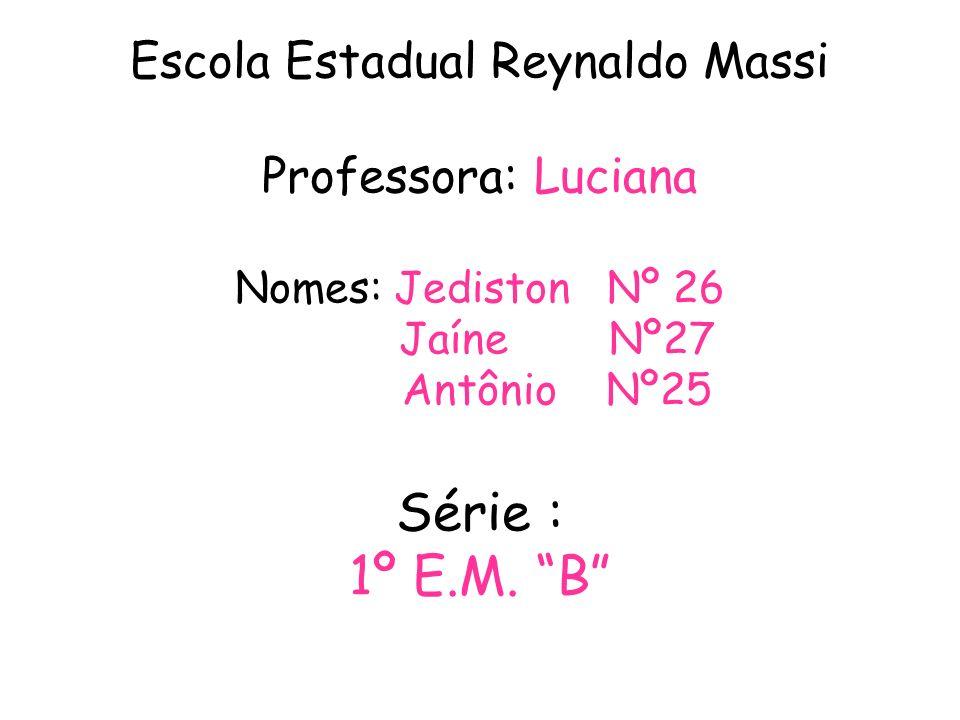 Escola Estadual Reynaldo Massi Professora: Luciana Nomes: Jediston Nº 26 Jaíne Nº27 Antônio Nº25 Série : 1º E.M. B