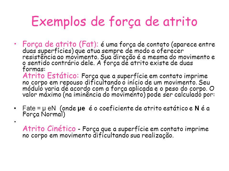 Exemplos de força de atrito Força de atrito (Fat ): é uma força de contato (aparece entre duas superfícies) que atua sempre de modo a oferecer resistê