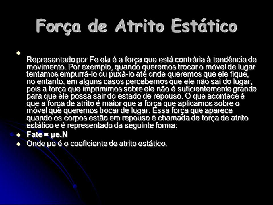 Força de Atrito Estático Representado por Fe ela é a força que está contrária à tendência de movimento.