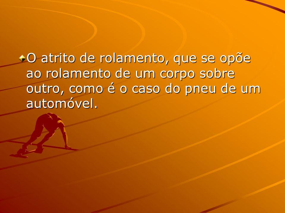 O atrito de rolamento, que se opõe ao rolamento de um corpo sobre outro, como é o caso do pneu de um automóvel.