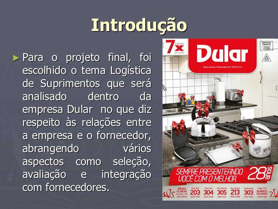 Introdução Para o projeto final, foi escolhido o tema Logística de Suprimentos que será analisado dentro da empresa Dular no que diz respeito às relaç