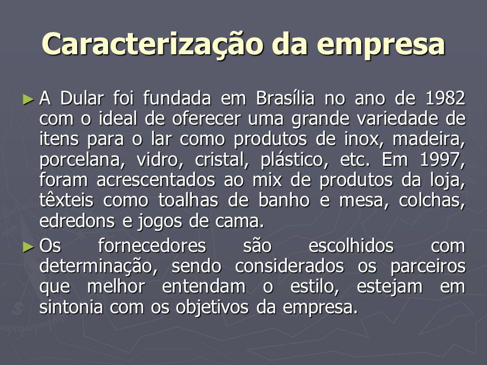 Caracterização da empresa A Dular foi fundada em Brasília no ano de 1982 com o ideal de oferecer uma grande variedade de itens para o lar como produto
