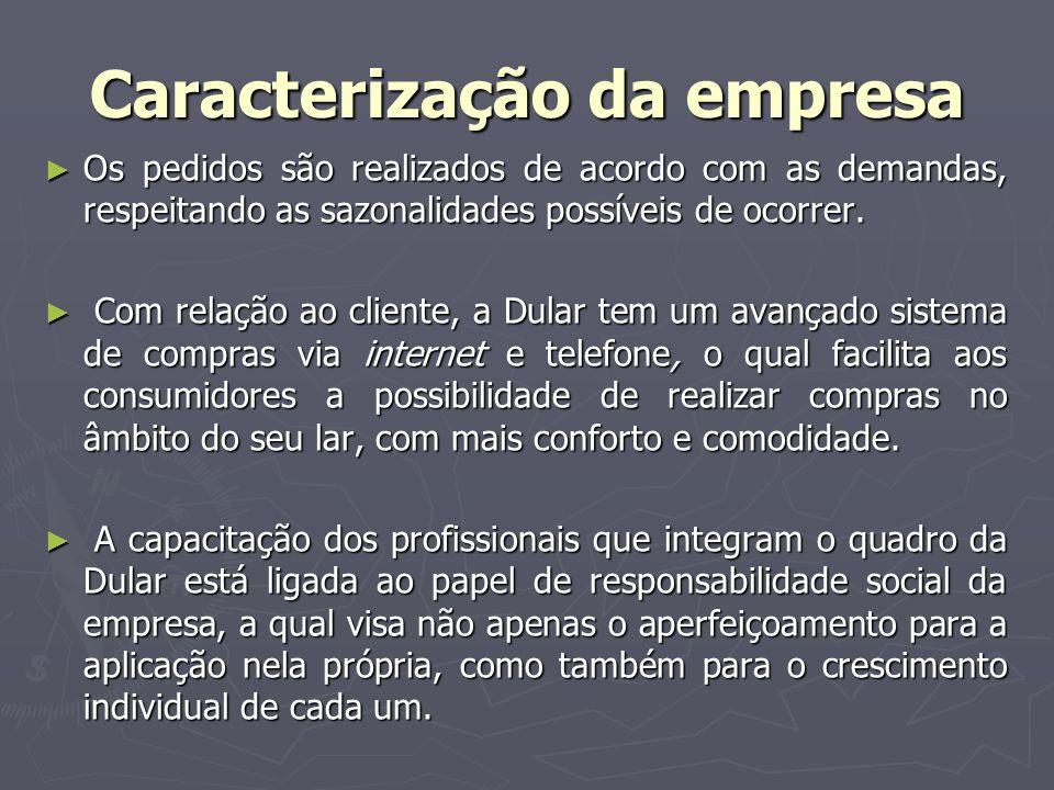 Caracterização da empresa Os pedidos são realizados de acordo com as demandas, respeitando as sazonalidades possíveis de ocorrer. Os pedidos são reali