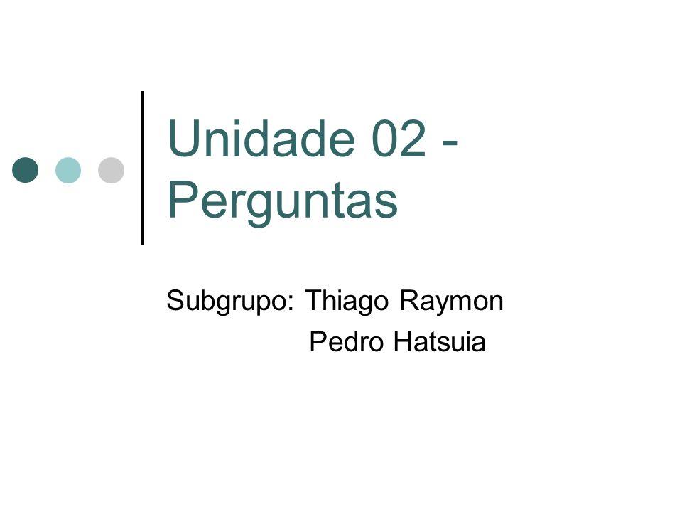 Unidade 02 - Perguntas Subgrupo: Thiago Raymon Pedro Hatsuia