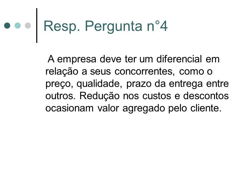 Resp. Pergunta n°4 A empresa deve ter um diferencial em relação a seus concorrentes, como o preço, qualidade, prazo da entrega entre outros. Redução n