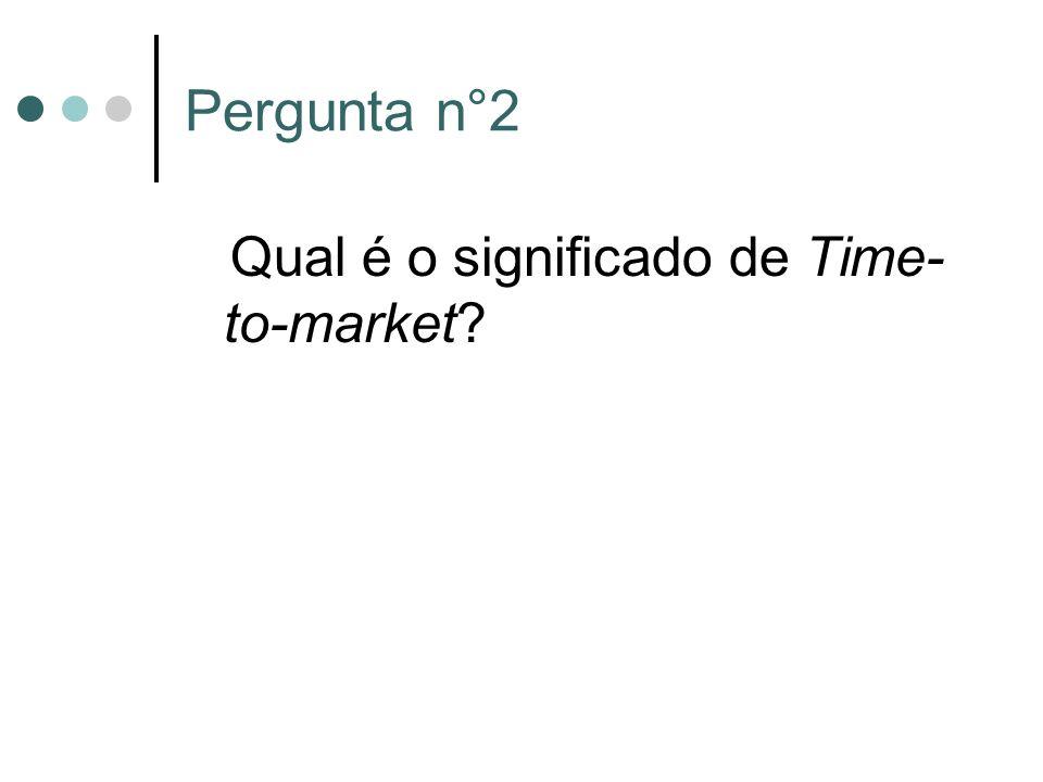 Pergunta n°2 Qual é o significado de Time- to-market?