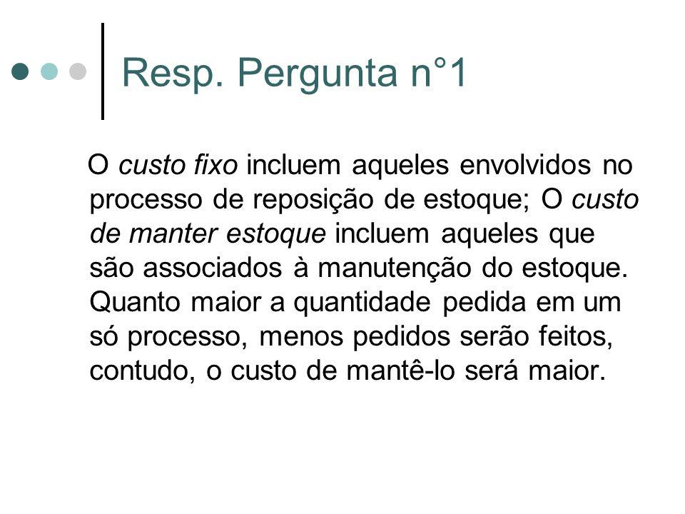 Resp. Pergunta n°1 O custo fixo incluem aqueles envolvidos no processo de reposição de estoque; O custo de manter estoque incluem aqueles que são asso