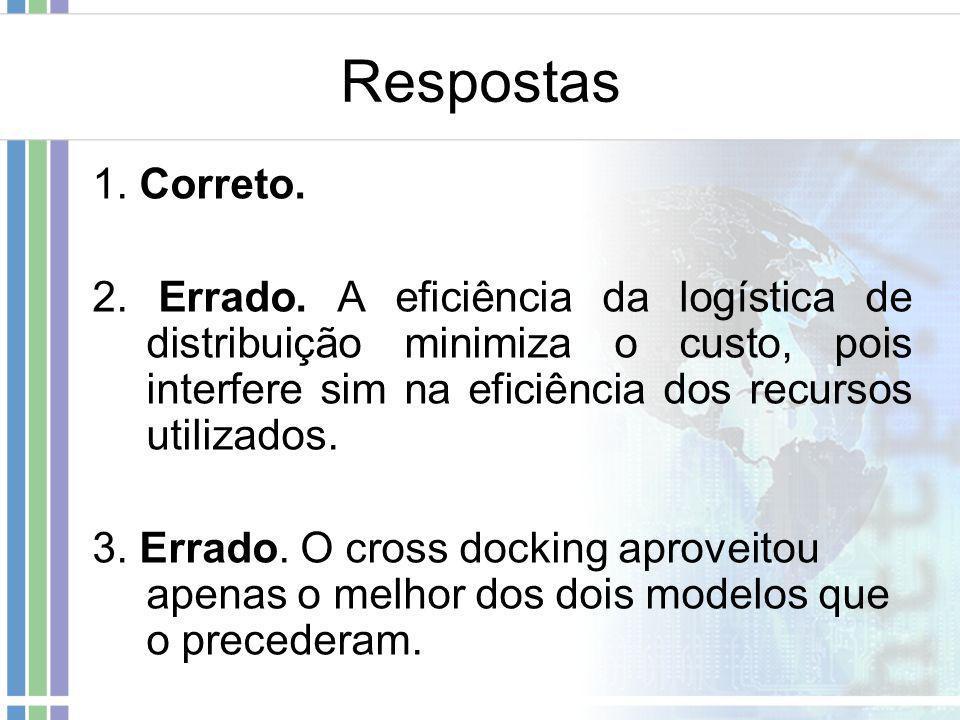 Respostas 1. Correto. 2. Errado. A eficiência da logística de distribuição minimiza o custo, pois interfere sim na eficiência dos recursos utilizados.