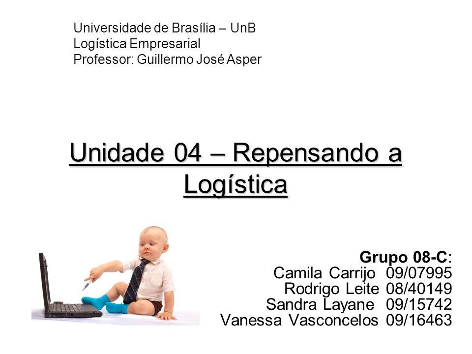 Unidade 04 – Repensando a Logística Grupo 08-C: Camila Carrijo 09/07995 Rodrigo Leite 08/40149 Sandra Layane 09/15742 Vanessa Vasconcelos 09/16463 Uni