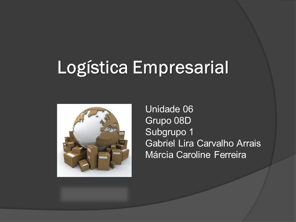 Logística Empresarial Unidade 06 Grupo 08D Subgrupo 1 Gabriel Lira Carvalho Arrais Márcia Caroline Ferreira