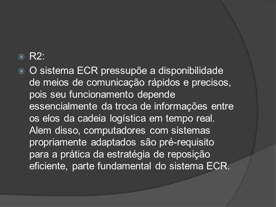 R2: O sistema ECR pressupõe a disponibilidade de meios de comunicação rápidos e precisos, pois seu funcionamento depende essencialmente da troca de in