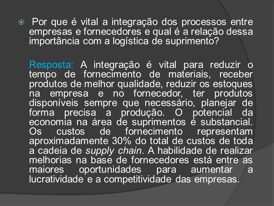 Por que é vital a integração dos processos entre empresas e fornecedores e qual é a relação dessa importância com a logística de suprimento? Resposta: