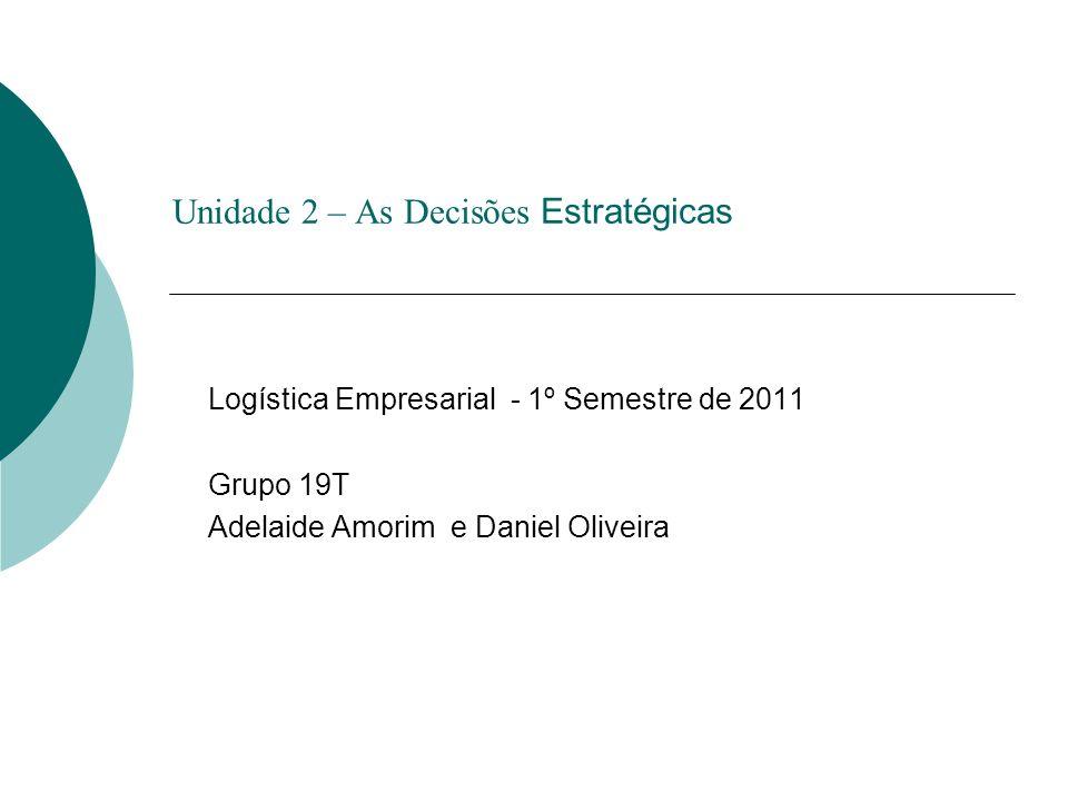 Unidade 2 – As Decisões Estratégicas Logística Empresarial - 1º Semestre de 2011 Grupo 19T Adelaide Amorim e Daniel Oliveira
