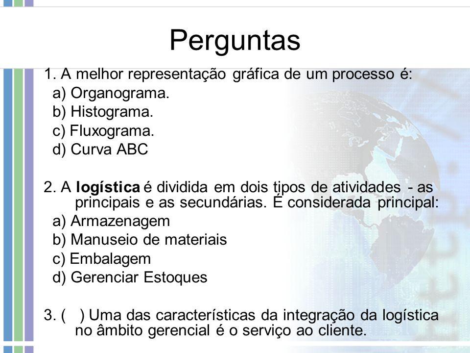 Perguntas 1. A melhor representação gráfica de um processo é: a) Organograma. b) Histograma. c) Fluxograma. d) Curva ABC 2. A logística é dividida em