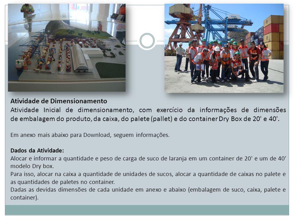 Atividade de Dimensionamento Atividade Inicial de dimensionamento, com exercício da informações de dimensões de embalagem do produto, da caixa, do pal