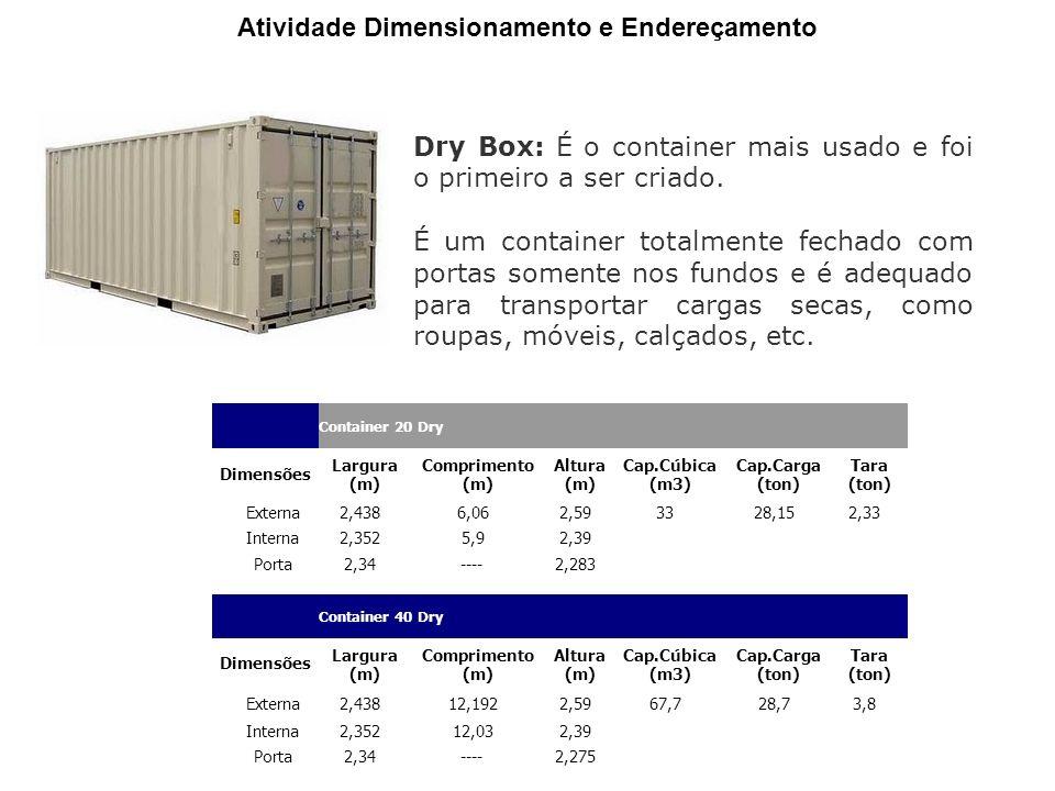 Container 20 Dry Dimensões Largura (m) Comprimento (m) Altura (m) Cap.Cúbica (m3) Cap.Carga (ton) Tara (ton) Externa2,438 6,06 2,59 33 28,15 2,33 Interna2,352 5,9 2,39 Porta2,34 ---- 2,283 Container 40 Dry Dimensões Largura (m) Comprimento (m) Altura (m) Cap.Cúbica (m3) Cap.Carga (ton) Tara (ton) Externa2,438 12,192 2,59 67,7 28,7 3,8 Interna2,352 12,03 2,39 Porta2,34 ---- 2,275 Atividade Dimensionamento e Endereçamento Dry Box: É o container mais usado e foi o primeiro a ser criado.