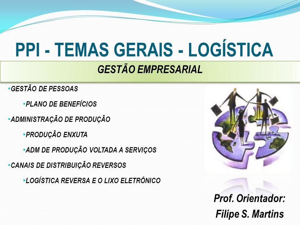 PPI - TEMAS GERAIS - LOGÍSTICA Prof. Orientador: Filipe S. Martins GESTÃO DE PESSOAS PLANO DE BENEFÍCIOS ADMINISTRAÇÃO DE PRODUÇÃO PRODUÇÃO ENXUTA ADM