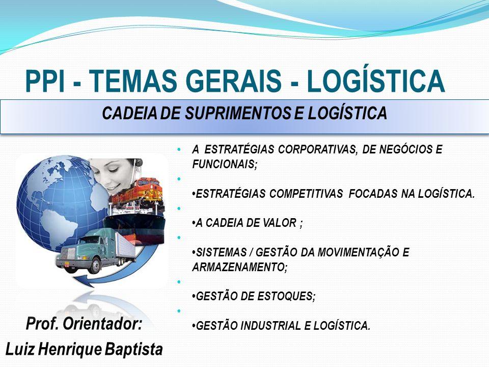 PPI - TEMAS GERAIS - LOGÍSTICA Prof. Orientador: Luiz Henrique Baptista A ESTRATÉGIAS CORPORATIVAS, DE NEGÓCIOS E FUNCIONAIS; ESTRATÉGIAS COMPETITIVAS
