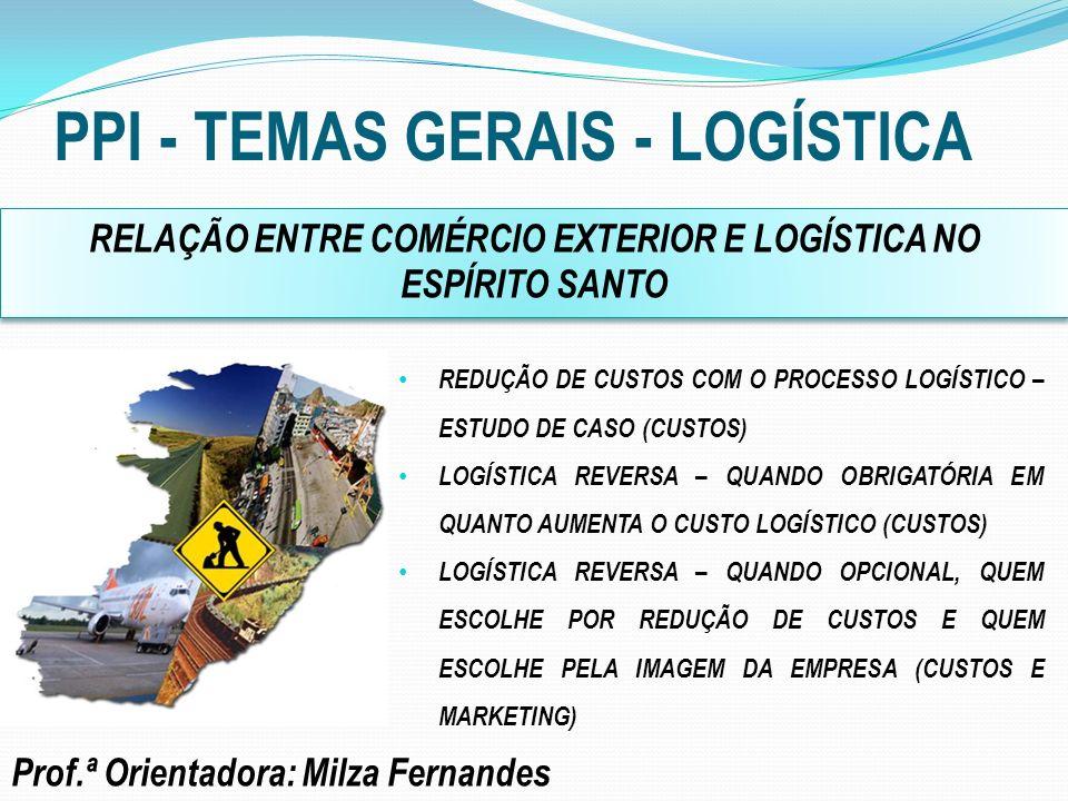PPI - TEMAS GERAIS - LOGÍSTICA Prof.Orientador: João Luiz M.