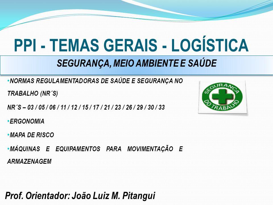 PPI - TEMAS GERAIS - LOGÍSTICA Prof. Orientador: João Luiz M. Pitangui NORMAS REGULAMENTADORAS DE SAÚDE E SEGURANÇA NO TRABALHO (NR´S) NR´S – 03 / 05