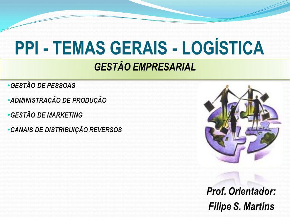 PPI - TEMAS GERAIS - LOGÍSTICA Prof. Orientador: Filipe S. Martins GESTÃO DE PESSOAS ADMINISTRAÇÃO DE PRODUÇÃO GESTÃO DE MARKETING CANAIS DE DISTRIBUI