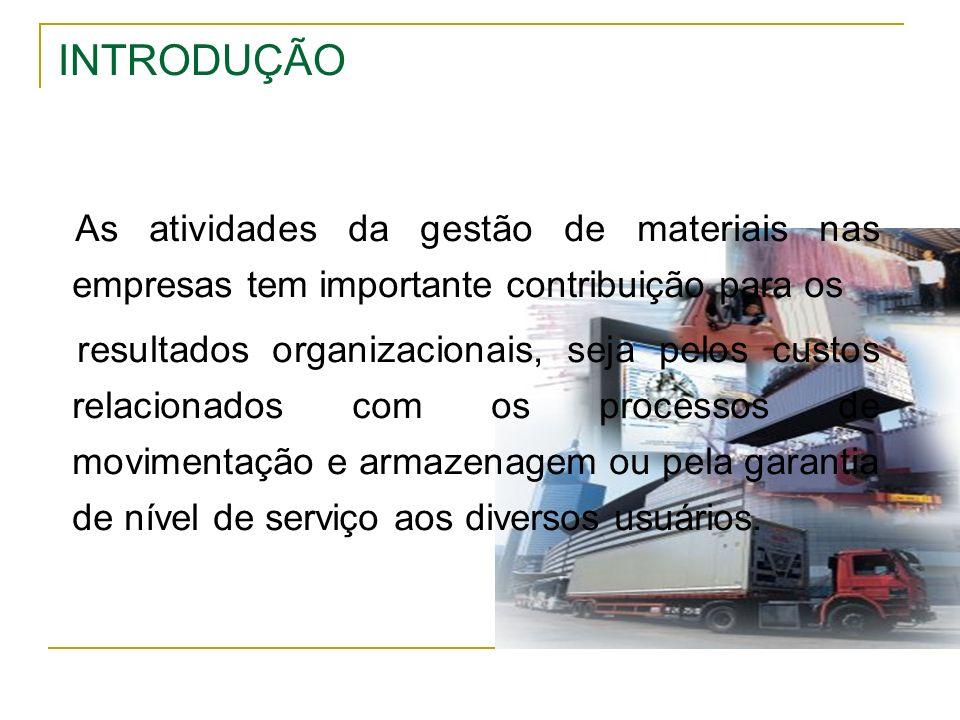 INTRODUÇÃO As atividades da gestão de materiais nas empresas tem importante contribuição para os resultados organizacionais, seja pelos custos relacio