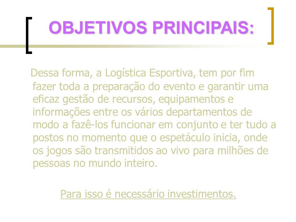 Dessa forma, a Logística Esportiva, tem por fim fazer toda a preparação do evento e garantir uma eficaz gestão de recursos, equipamentos e informações