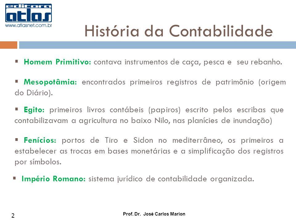 Prof. Dr. José Carlos Marion 2 Homem Primitivo: contava instrumentos de caça, pesca e seu rebanho. História da Contabilidade Mesopotâmia: encontrados