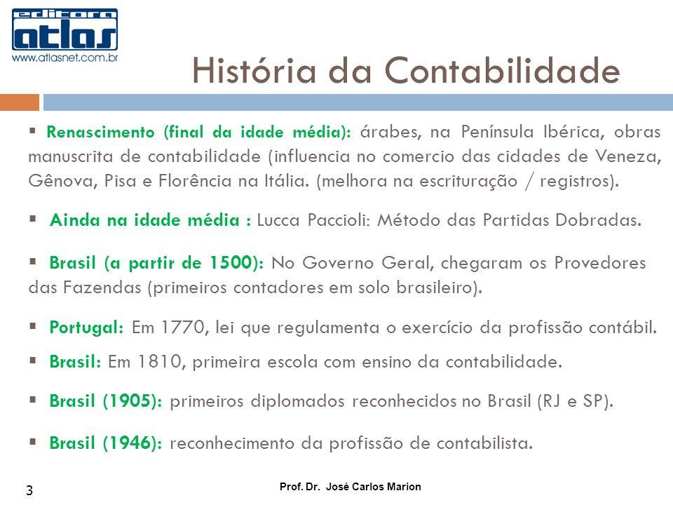 Prof. Dr. José Carlos Marion 3 Renascimento (final da idade média): árabes, na Península Ibérica, obras manuscrita de contabilidade (influencia no com