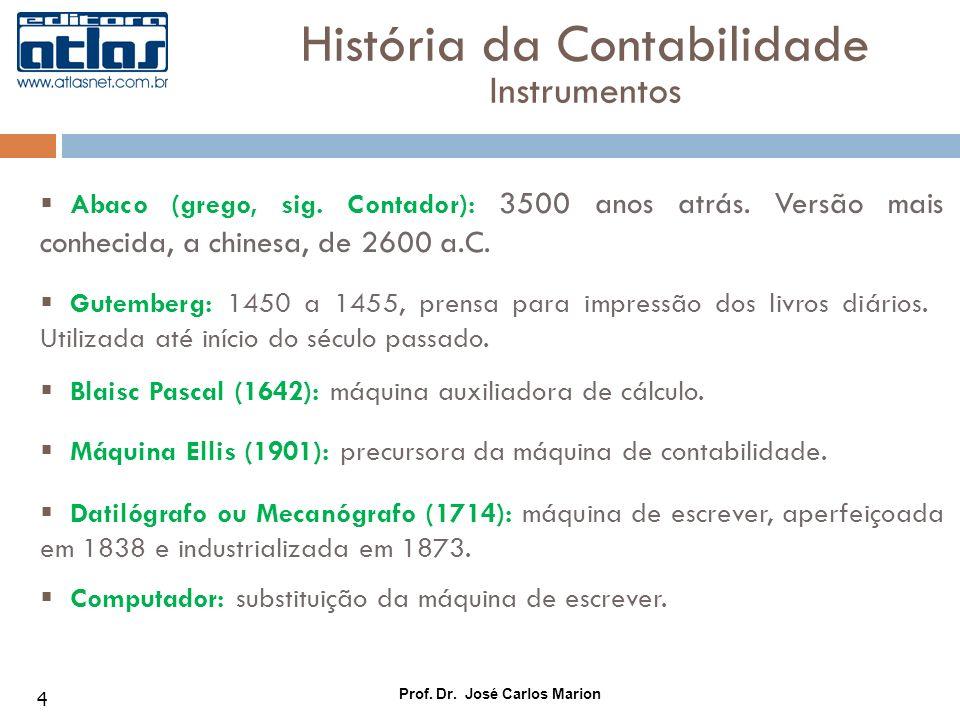 Prof. Dr. José Carlos Marion 4 Abaco (grego, sig. Contador): 3500 anos atrás. Versão mais conhecida, a chinesa, de 2600 a.C. História da Contabilidade