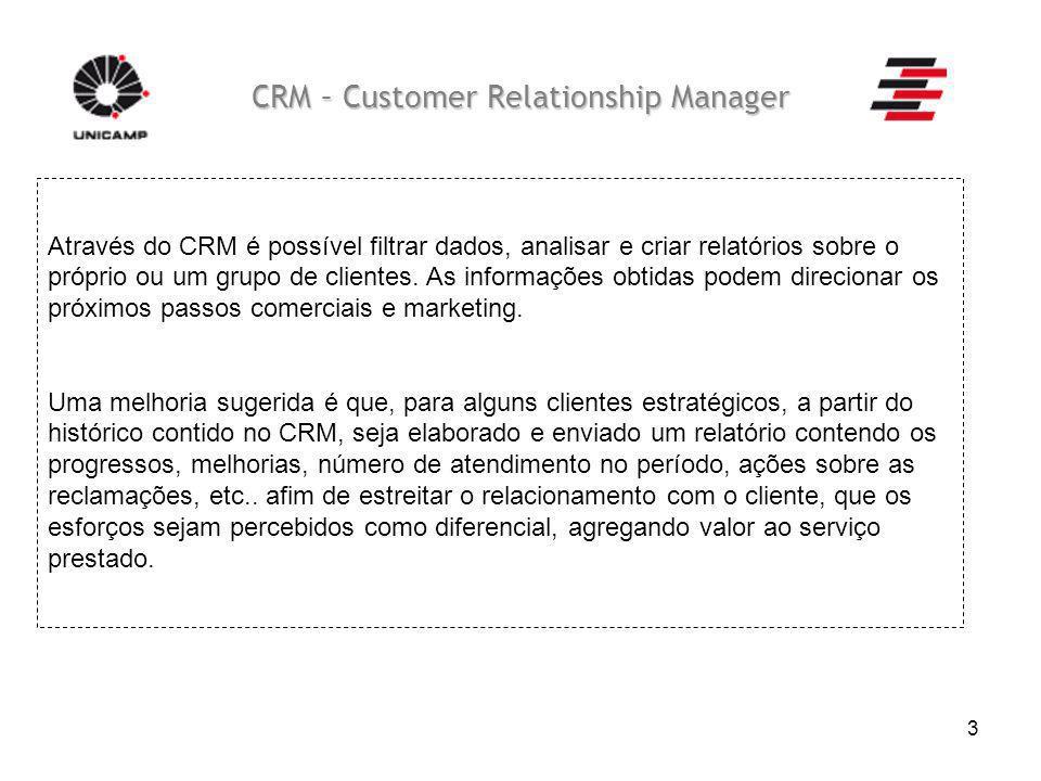 3 CRM – Customer Relationship Manager Através do CRM é possível filtrar dados, analisar e criar relatórios sobre o próprio ou um grupo de clientes. As