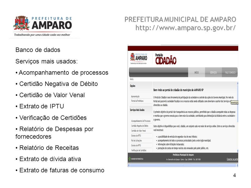 Beatriz A. Benedetti 4 PREFEITURA MUNICIPAL DE AMPARO http://www.amparo.sp.gov.br/ Banco de dados Serviços mais usados: Acompanhamento de processos Ce