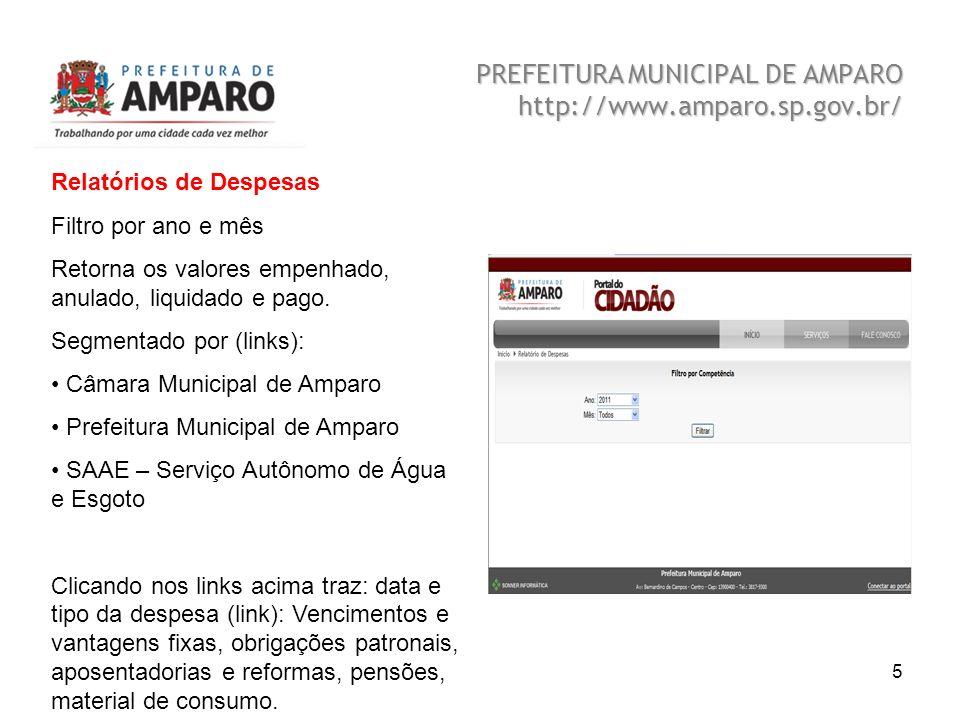 Beatriz A. Benedetti 5 PREFEITURA MUNICIPAL DE AMPARO http://www.amparo.sp.gov.br/ Relatórios de Despesas Filtro por ano e mês Retorna os valores empe