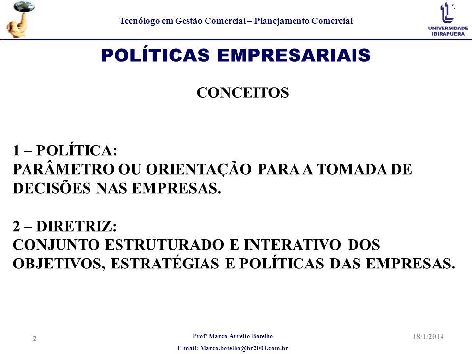 Profª Marco Aurélio Botelho E-mail: Marco.botelho@br2001.com.br Tecnólogo em Gestão Comercial – Planejamento Comercial 18/1/2014 2 POLÍTICAS EMPRESARI