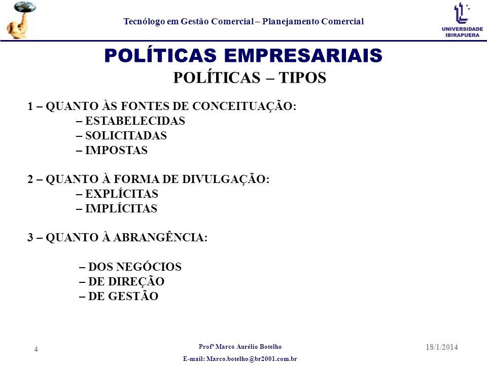 Profª Marco Aurélio Botelho E-mail: Marco.botelho@br2001.com.br Tecnólogo em Gestão Comercial – Planejamento Comercial 18/1/2014 4 POLÍTICAS EMPRESARI